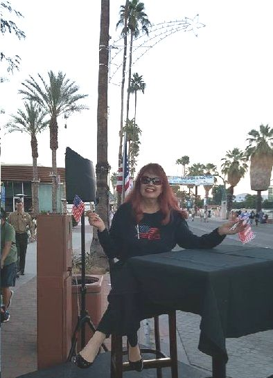 Commentating the City of Palm Springs Veterans Day Parade in front of Alibi Azul