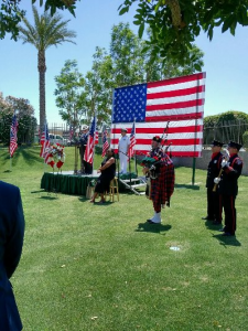 Happy Memorial Day and God Bless America. Services @ Forest Lawn w Larry Davis, Mayor Robert Moon, bagpipes, color guard, 21 gun salute. (photo courtesy of Jim Rider)