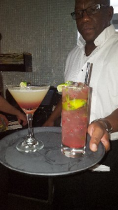 Darrell presenting the Desert Haze and Raspberry Mojito
