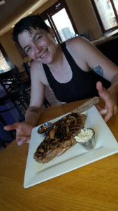 Photo of Chef Kate and the world's best hand cut rib eye