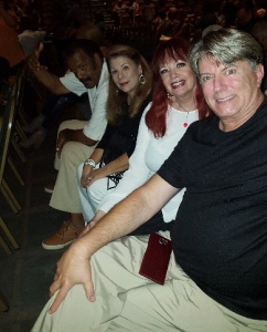"As guests of Fred ""The Hammer"" and Linda Williamson w/ Jim Rider @ ""Earth Wind and Fire"" @ Fantasy Springs. July 29."
