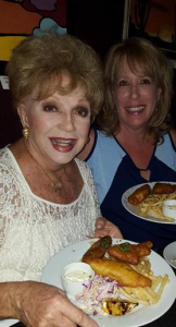 Ruta Lee eating the Fish and Chips
