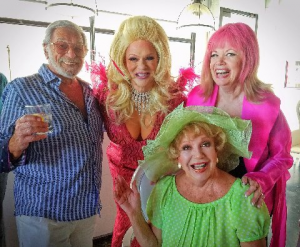"Gary Damsker, (producer of Hollywood Squares), Alfie as ""Aerial Trampway"", Joey and Ruta Lee @ Eight4Nine"