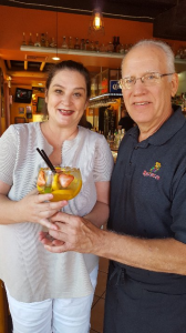 That famous White Sangria @ Maracas w/ daughter Tami on Grandparents Day made by bartender Richard